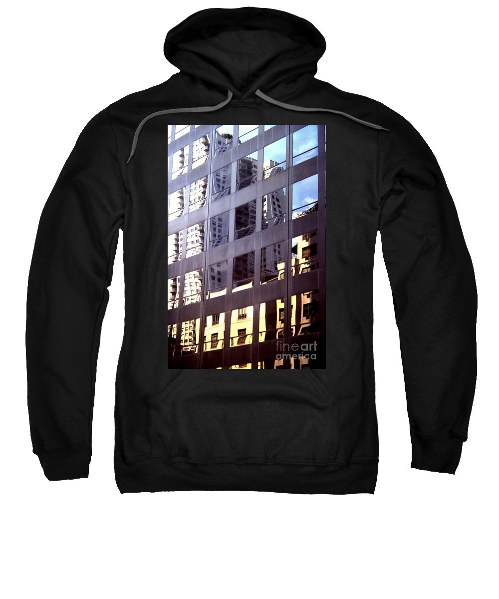 Manhattan Sweatshirt featuring the photograph Manhattan Skyscraper Reflection by John Greco
