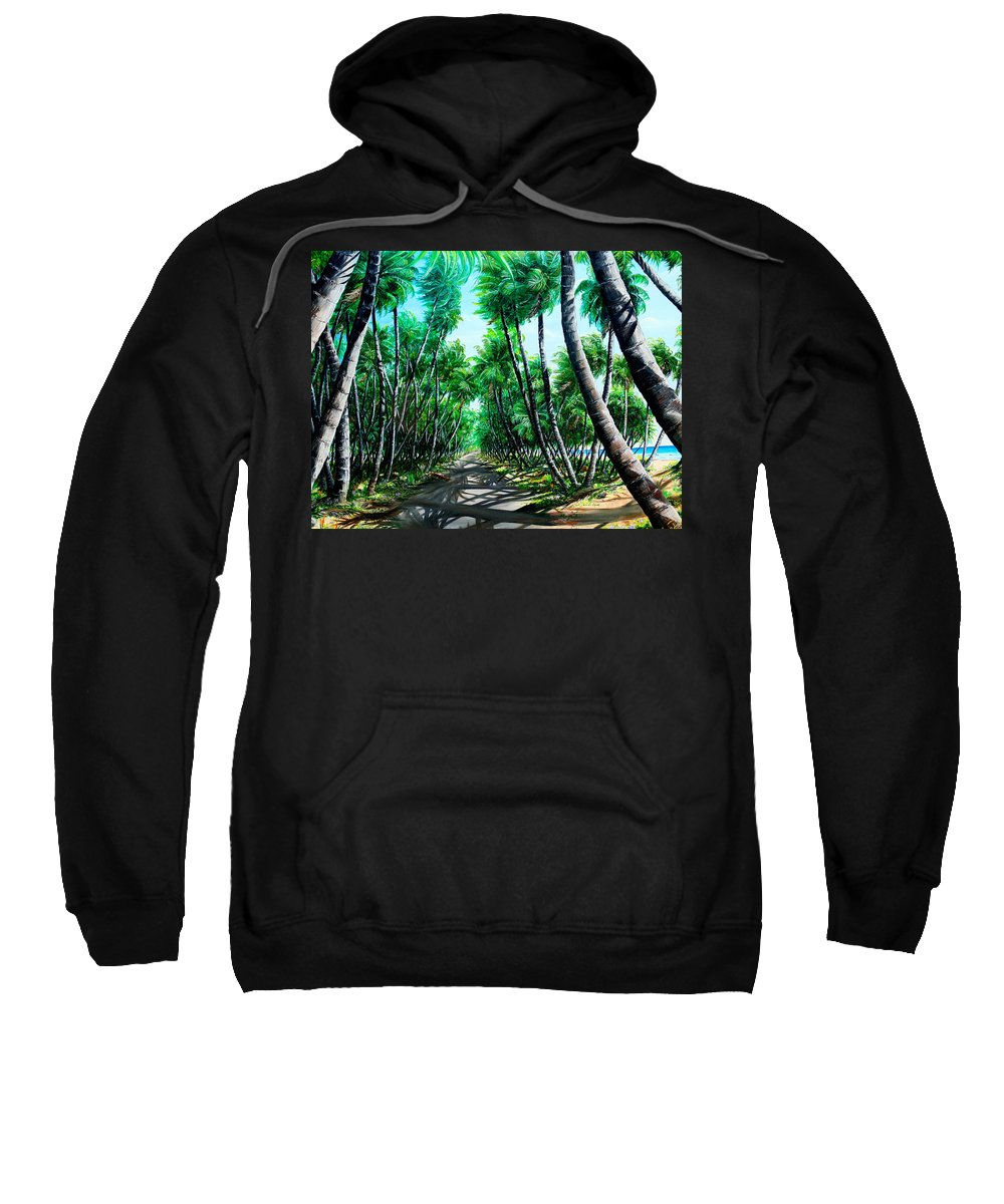 Coconut Trees Sweatshirt featuring the painting Manzanilla Coconut Estate by Karin Dawn Kelshall- Best