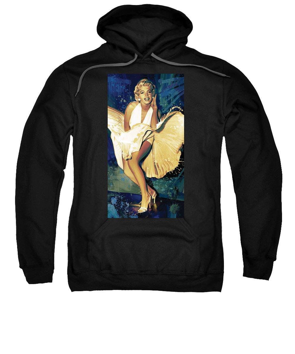 Marilyn Monroe Paintings Sweatshirt featuring the painting Marilyn Monroe Artwork 4 by Sheraz A