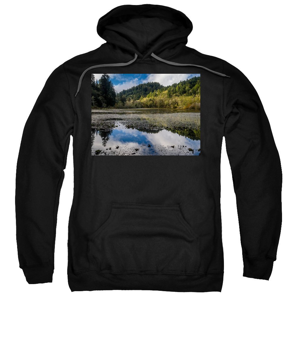 Clouds Sweatshirt featuring the photograph Marshall Pond In Autum by Greg Nyquist