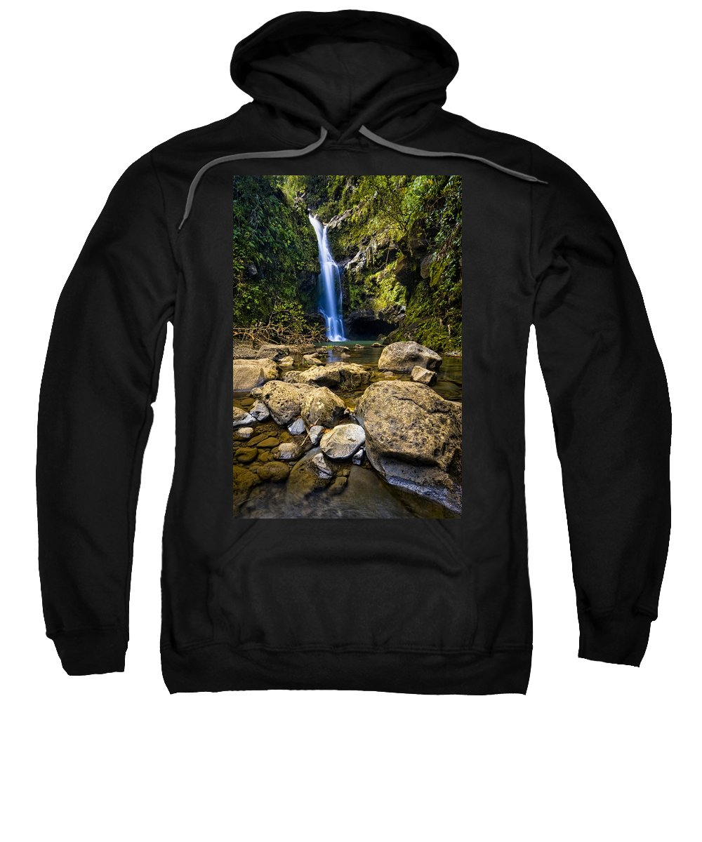 3scape Photos Sweatshirt featuring the photograph Maui Waterfall by Adam Romanowicz