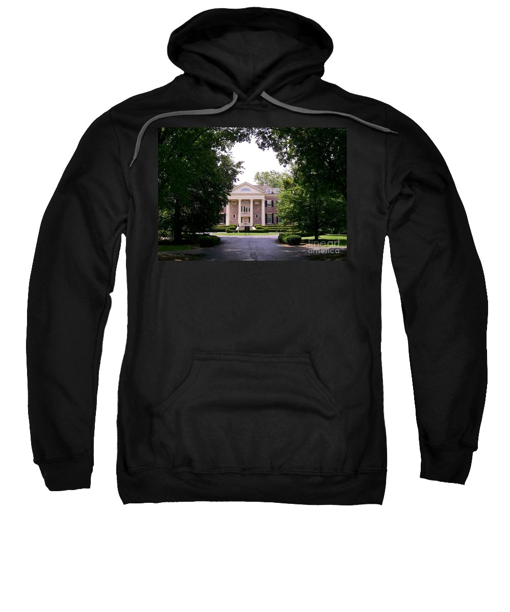 Robert R. Mccormick Museum Sweatshirt featuring the photograph Mccormick Mansion From The Drive by Laurie Eve Loftin