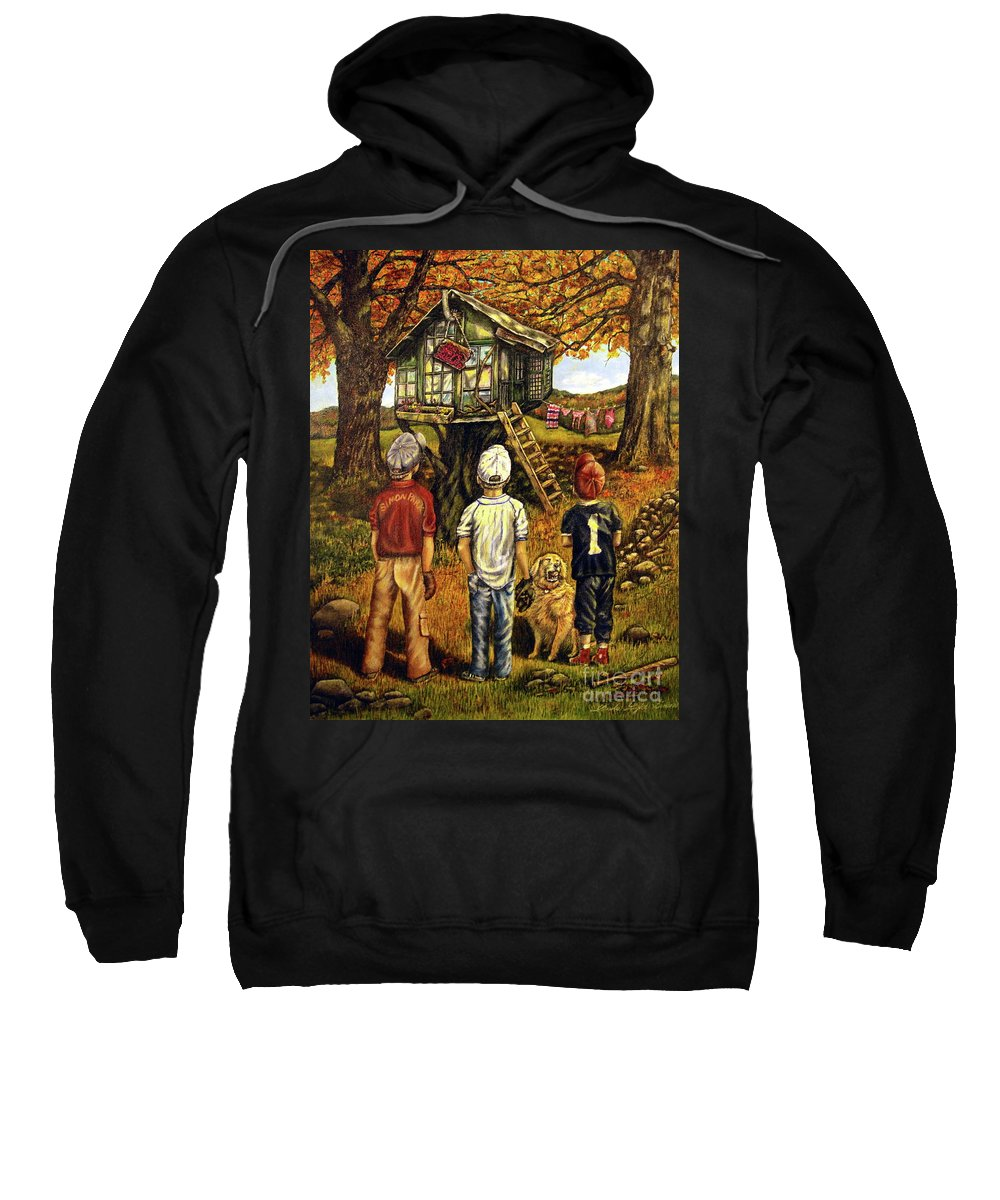 Trees Sweatshirt featuring the painting Meadow Haven by Linda Simon