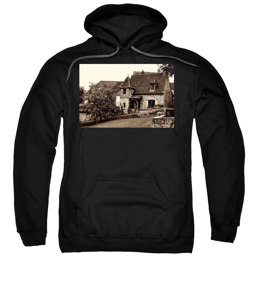 Medieval Cottage Sweatshirt featuring the photograph Medieval Cottage In Sarlat Sepia by Weston Westmoreland