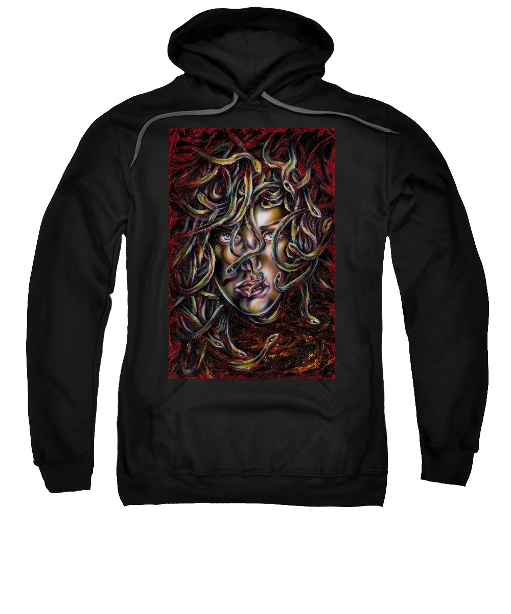 Medusa Sweatshirt featuring the painting Medusa No. Three by Hiroko Sakai