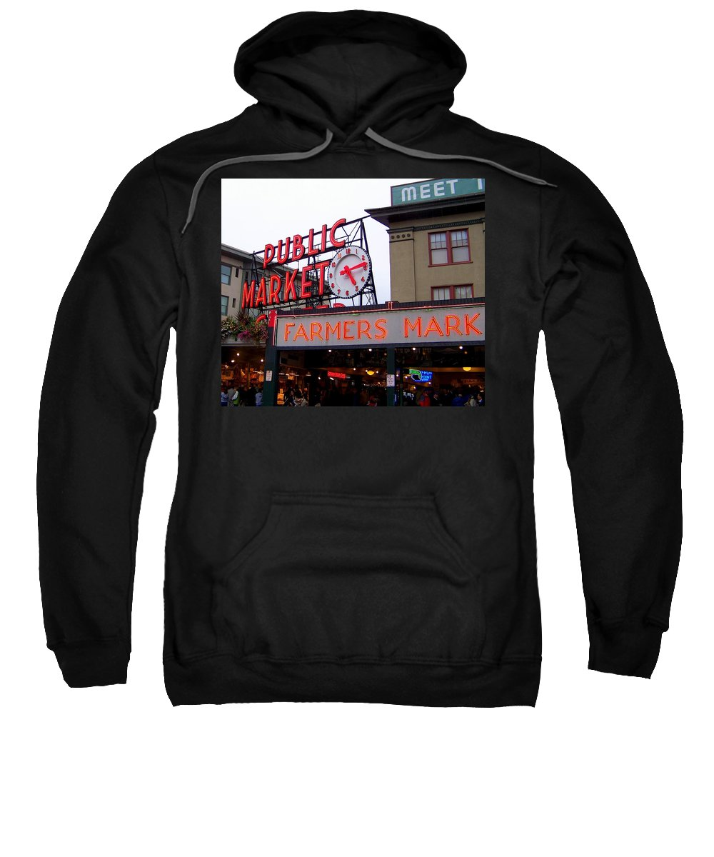 Pike Place Market Sweatshirt featuring the photograph Meet Me In Seattle by Karen Wiles