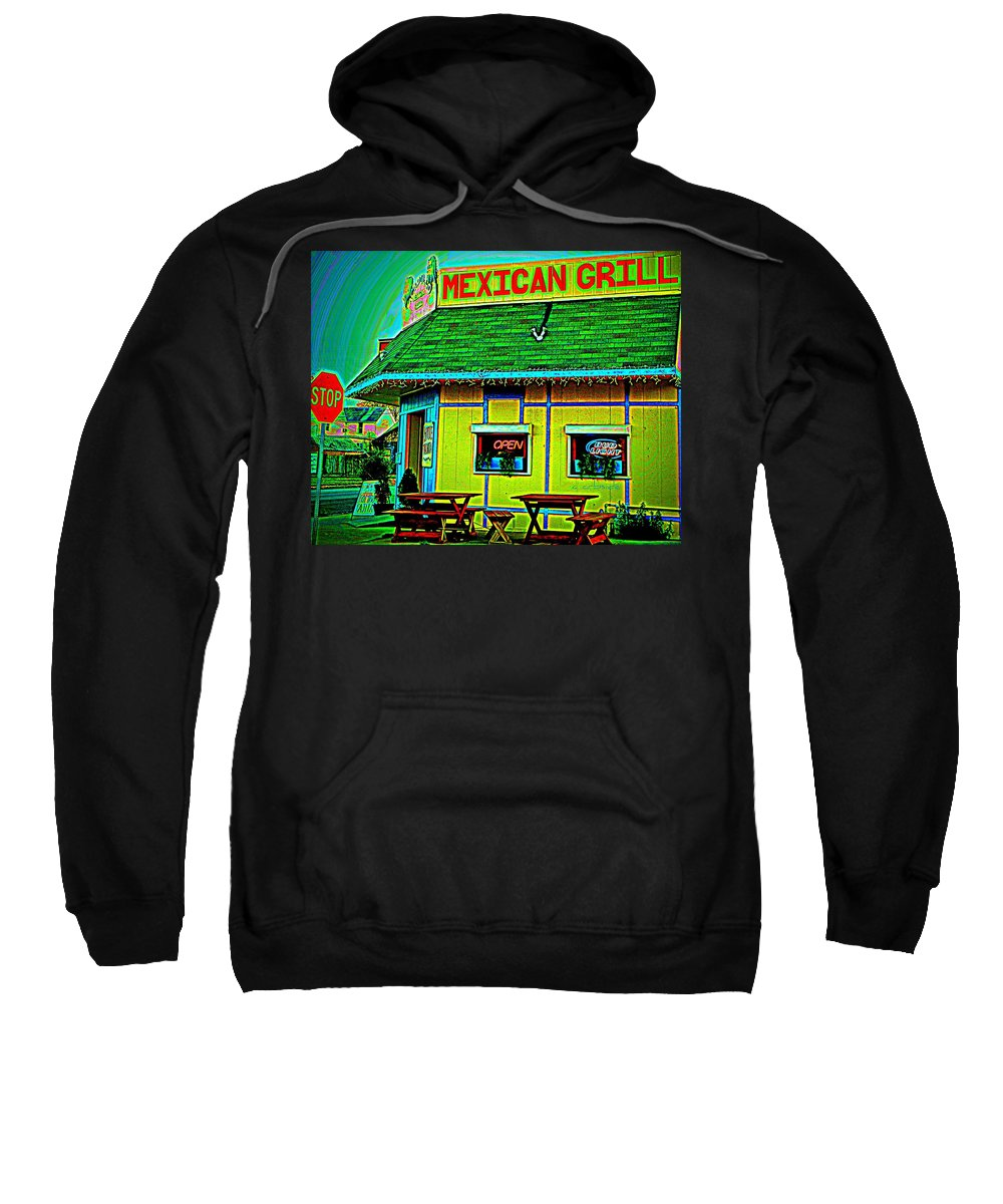 Restaurant Sweatshirt featuring the photograph Mexican Grill by Chris Berry