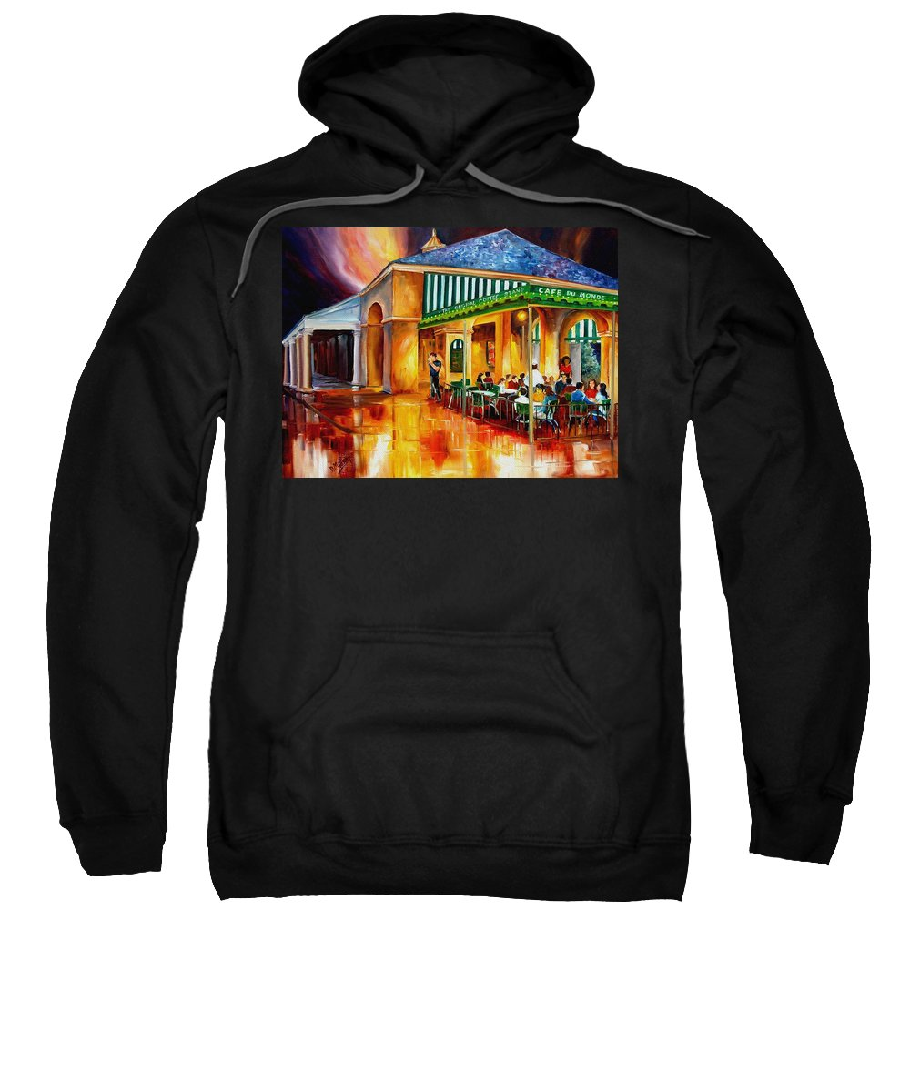 New Orleans Paintings Sweatshirt featuring the painting Midnight At The Cafe Du Monde by Diane Millsap