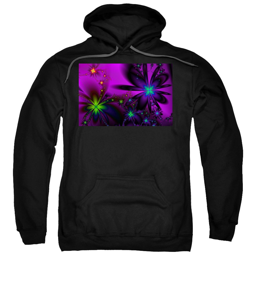 Flower Sweatshirt featuring the digital art Midnight At The Oasis by Kiki Art