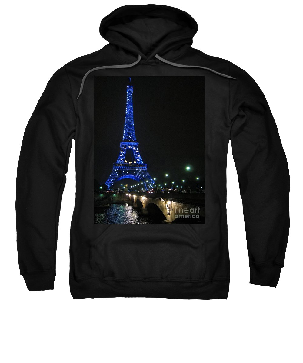 Paris France Eiffel Tower Sweatshirt featuring the photograph Midnight Blue by Suzanne Oesterling