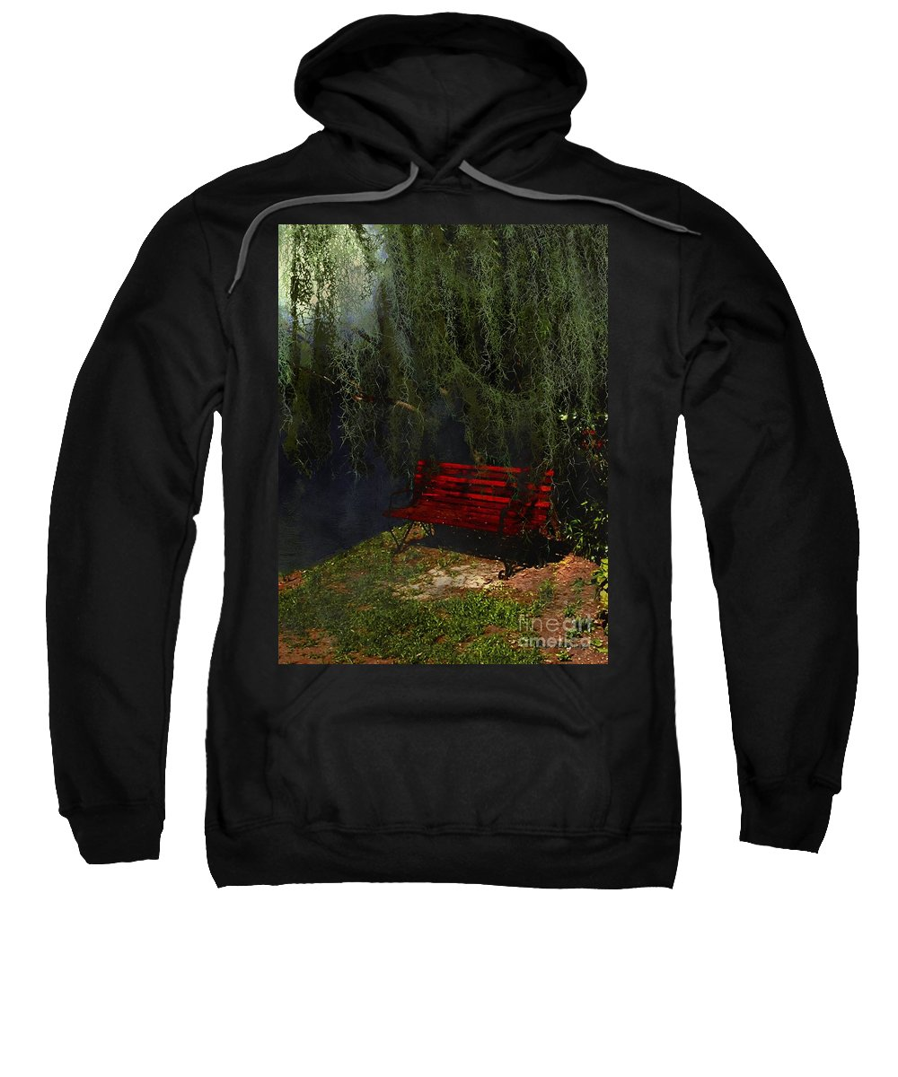 Bench Sweatshirt featuring the painting Midnight In The Garden Of Good And Evil by RC DeWinter