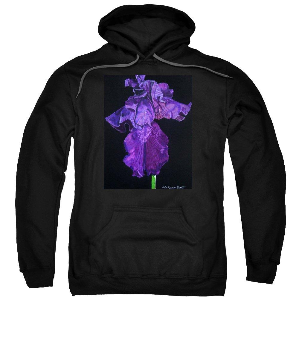Iris Sweatshirt featuring the drawing Midnight Iris by Anita Putman