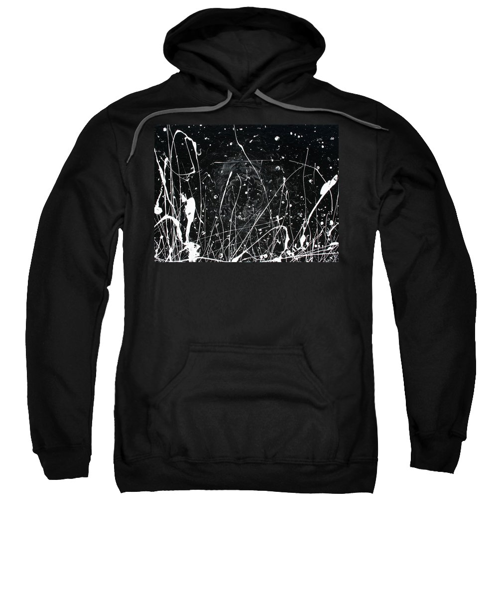 Black Sweatshirt featuring the painting Midnight Weeds by Ric Bascobert