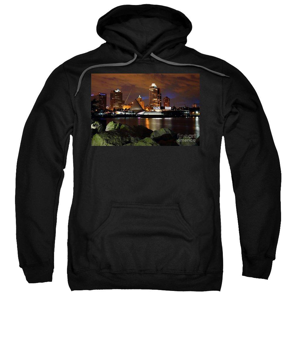 Norhtwestern Mutual Sweatshirt featuring the photograph Milwaukee Skyline At Dusk by Bill Cobb
