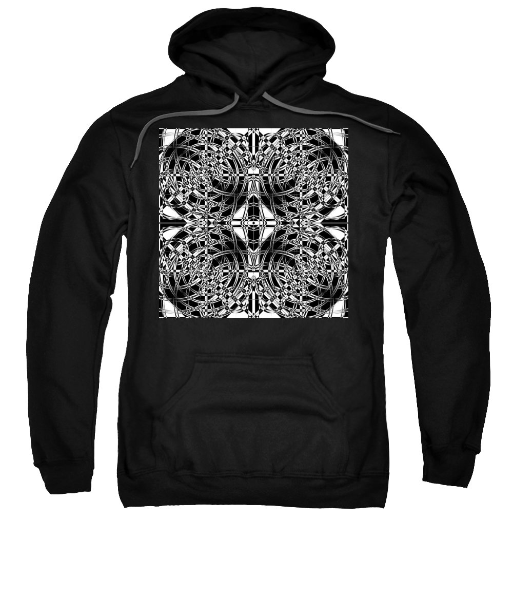 Abstract Sweatshirt featuring the digital art B W Sq 10 by Mike McGlothlen