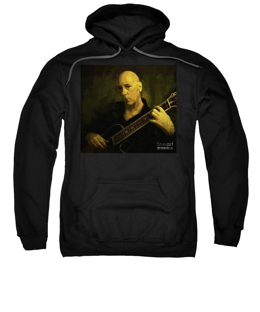 Guitar Sweatshirt featuring the painting Minstrel Renaissance Modern by RC DeWinter