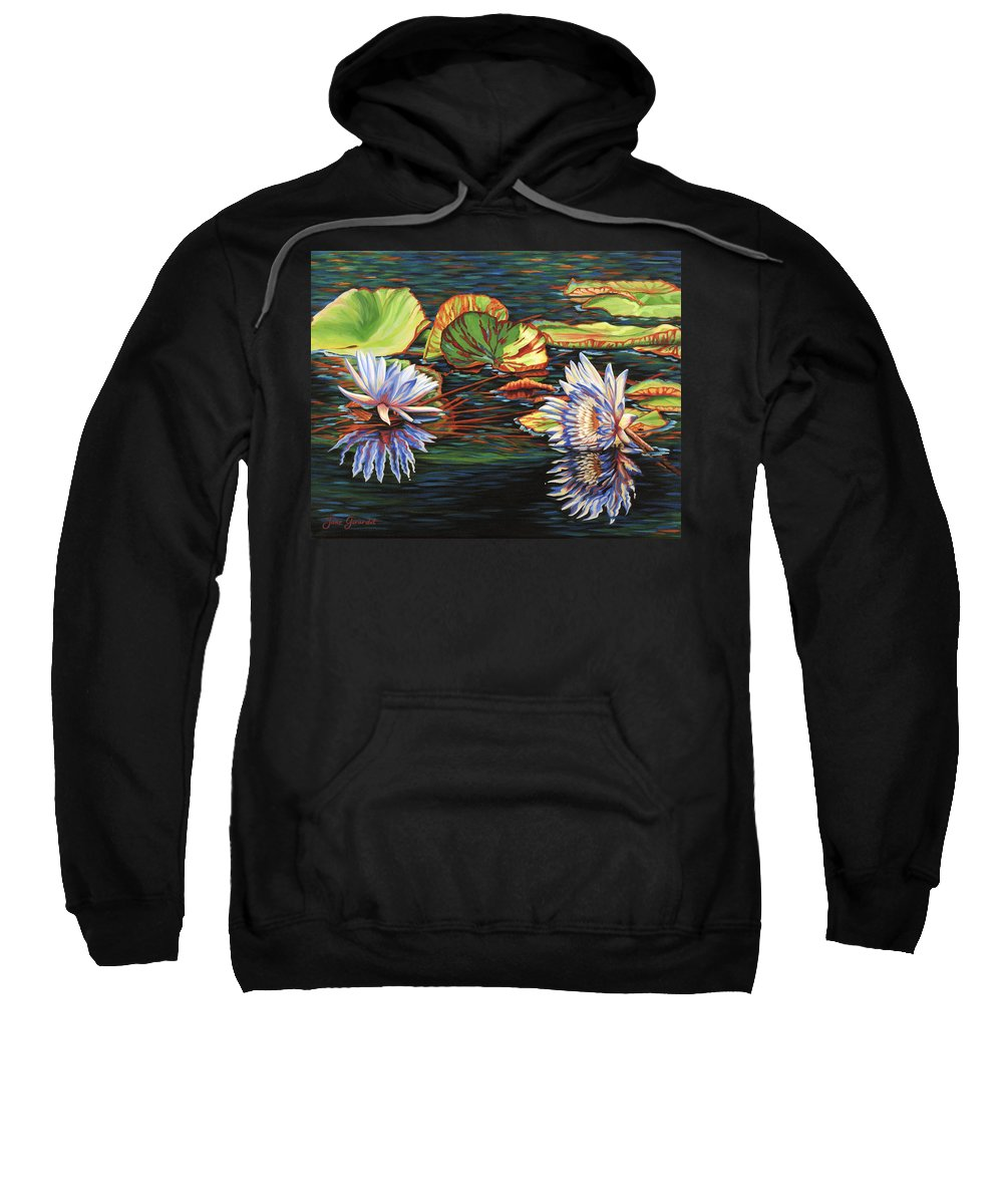 Lily Lilies Water Pond Pad Flower Flowers Floral Lake Sweatshirt featuring the painting Mirrored Lilies by Jane Girardot