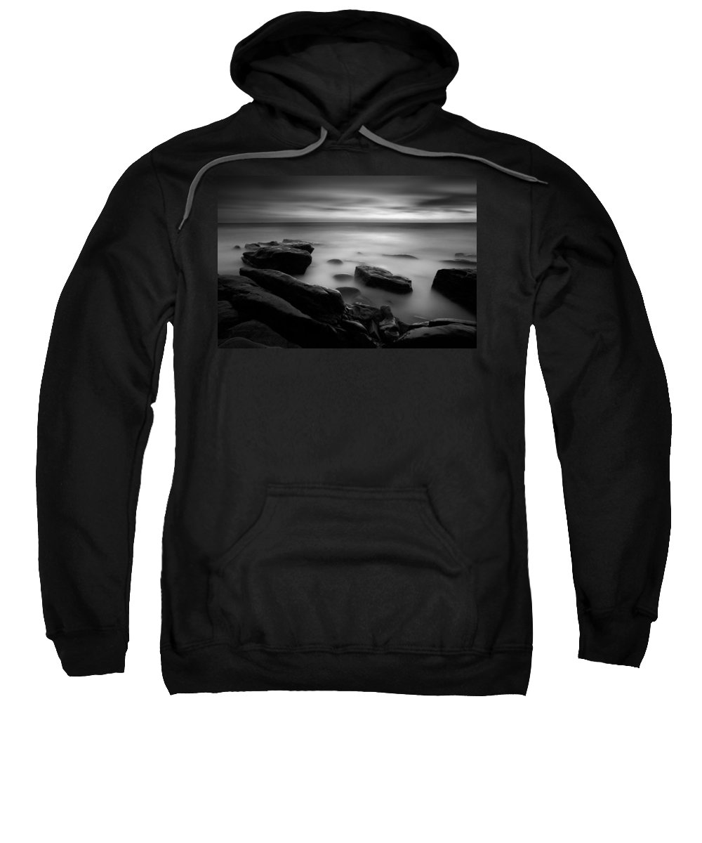 Beach Sweatshirt featuring the photograph Misty Water Black And White by Peter Tellone