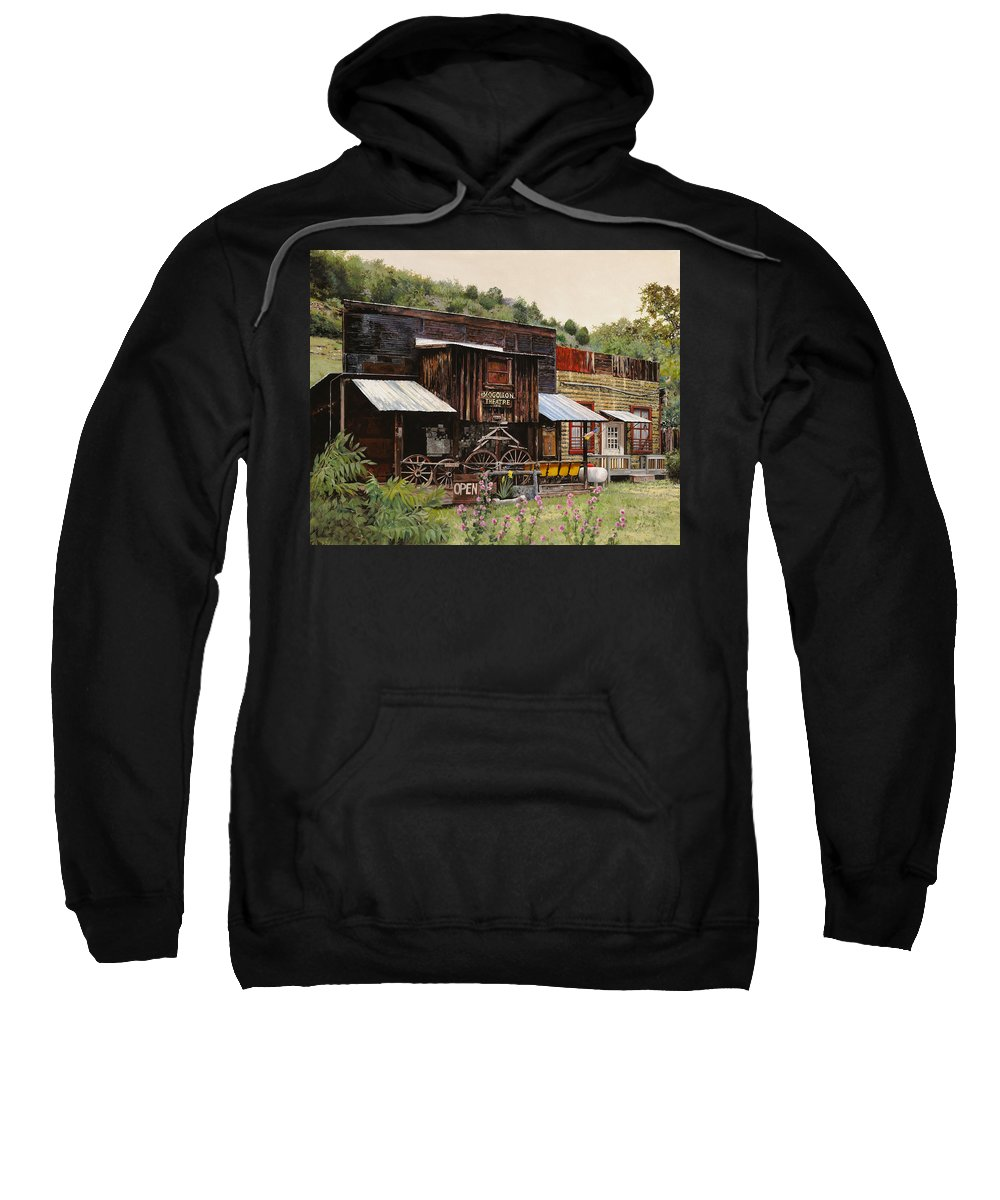 Theatre Sweatshirt featuring the painting Mogollon-theatre-new Mexico by Guido Borelli