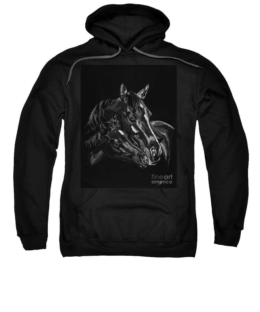 Horse Sweatshirt featuring the drawing Moma's Love by Yenni Harrison