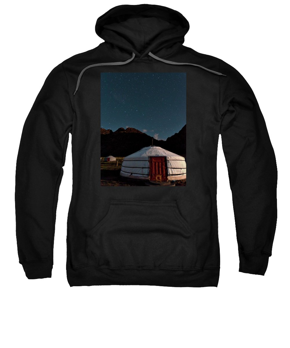 The Big Dipper Shines Over Our Yurt At The Khankhar-uul Camp In Sweatshirt featuring the photograph Mongolia By Starlight by Alan Toepfer