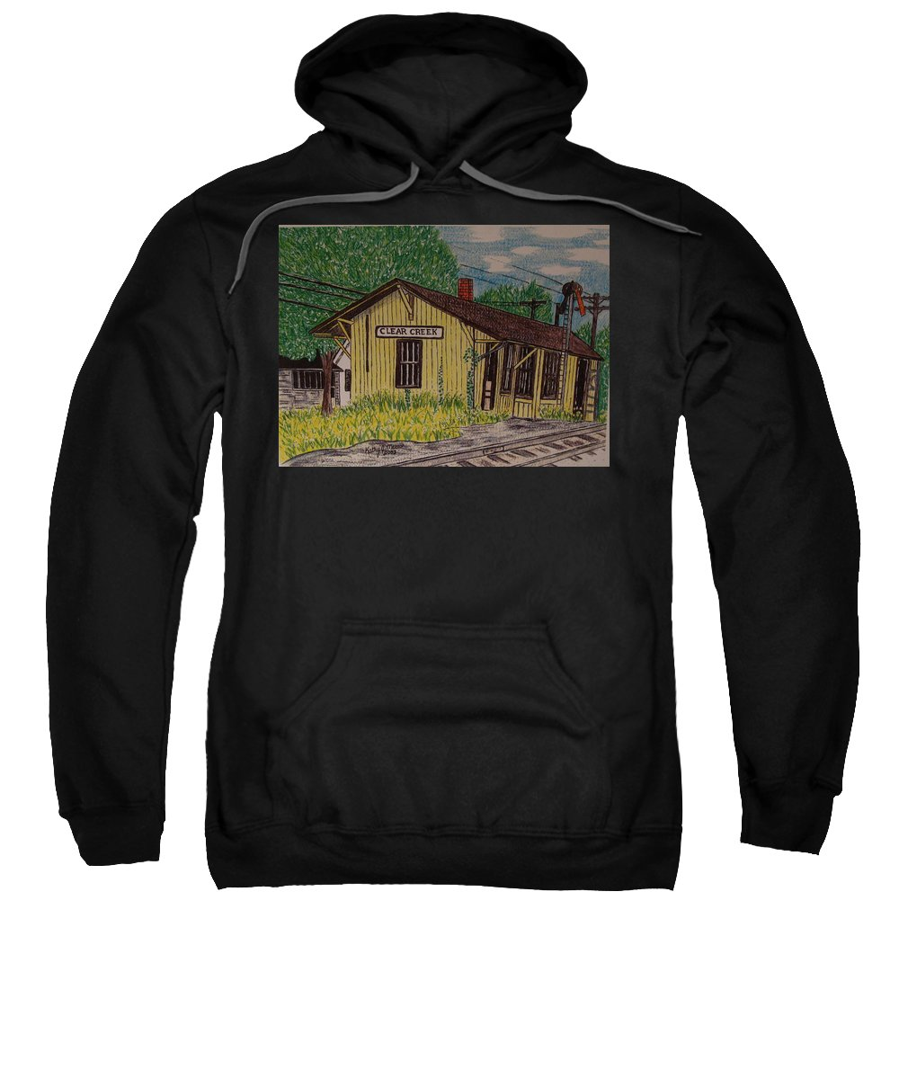 Monon. Monon Train Sweatshirt featuring the painting Monon Clear Creek Indiana Train Depot by Kathy Marrs Chandler