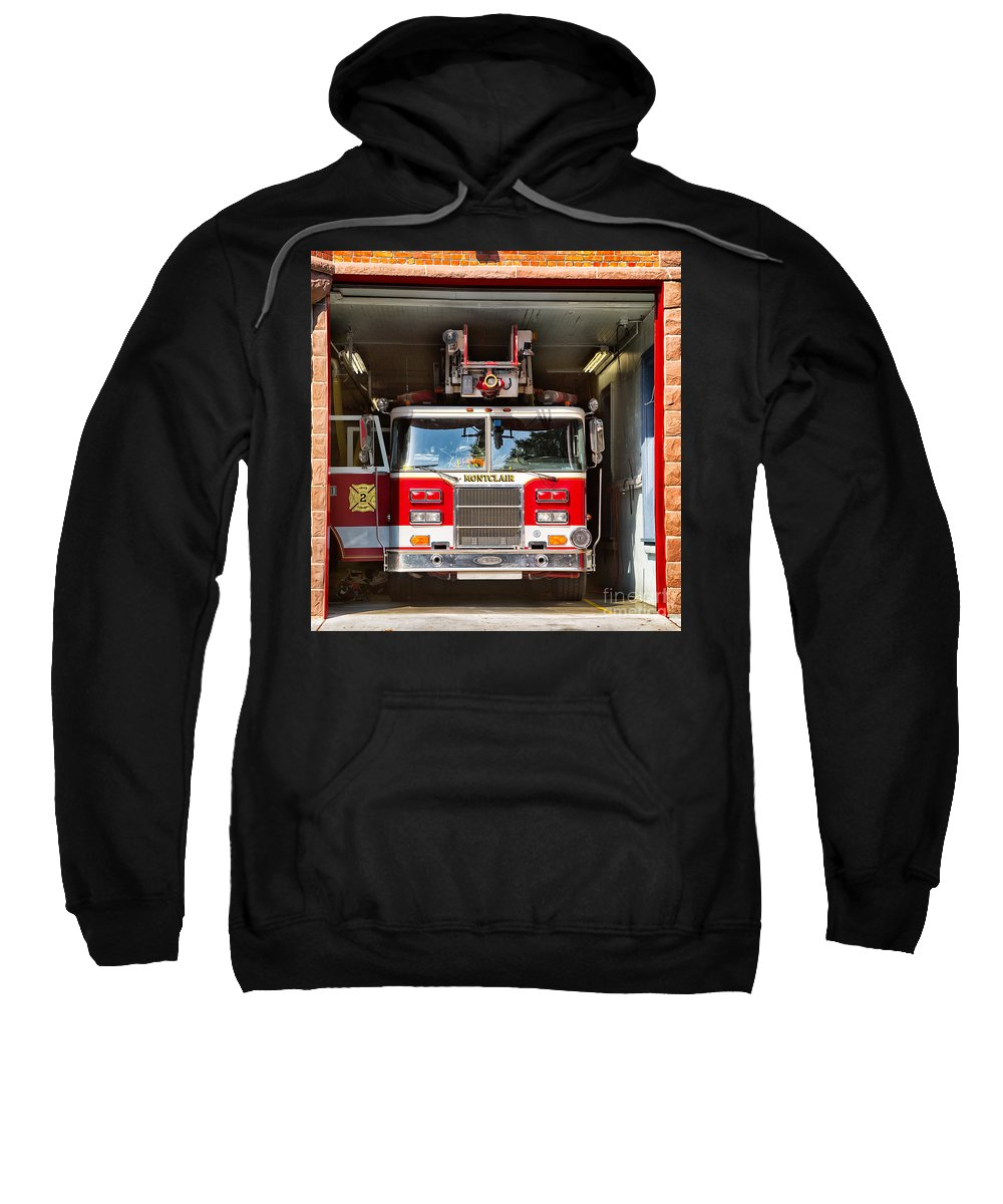 Fire Truck Sweatshirt featuring the photograph Montclair Fire Truck by Jerry Fornarotto