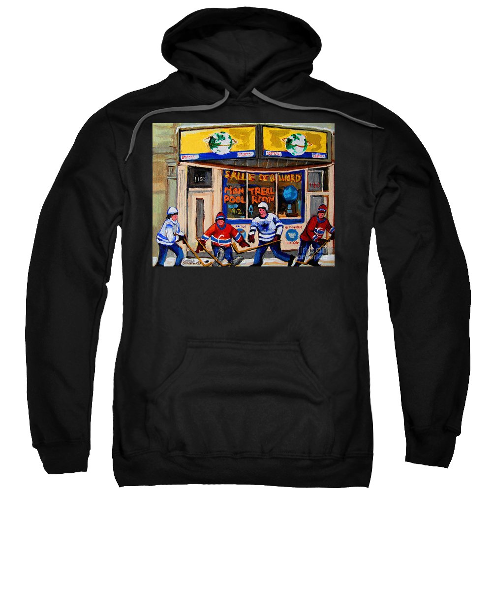 Montreal Sweatshirt featuring the painting Montreal Pool Room City Scene With Hockey by Carole Spandau