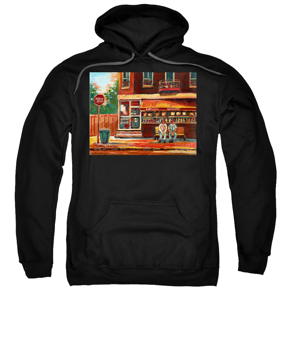 Montreal Sweatshirt featuring the painting Montreal Street Scene Paintings by Carole Spandau