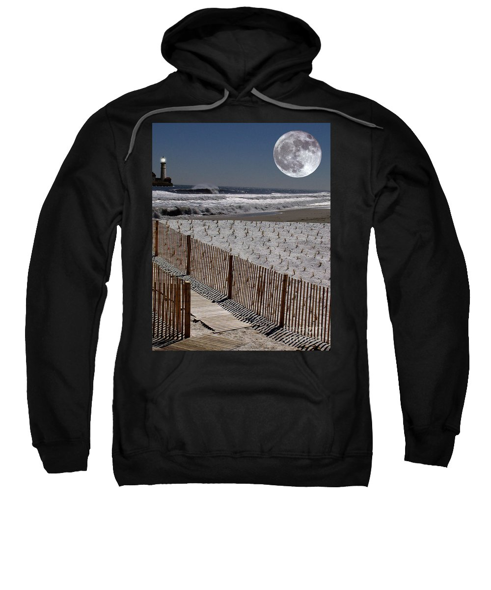 Water Sweatshirt featuring the digital art Moon Bay by Keith Dillon