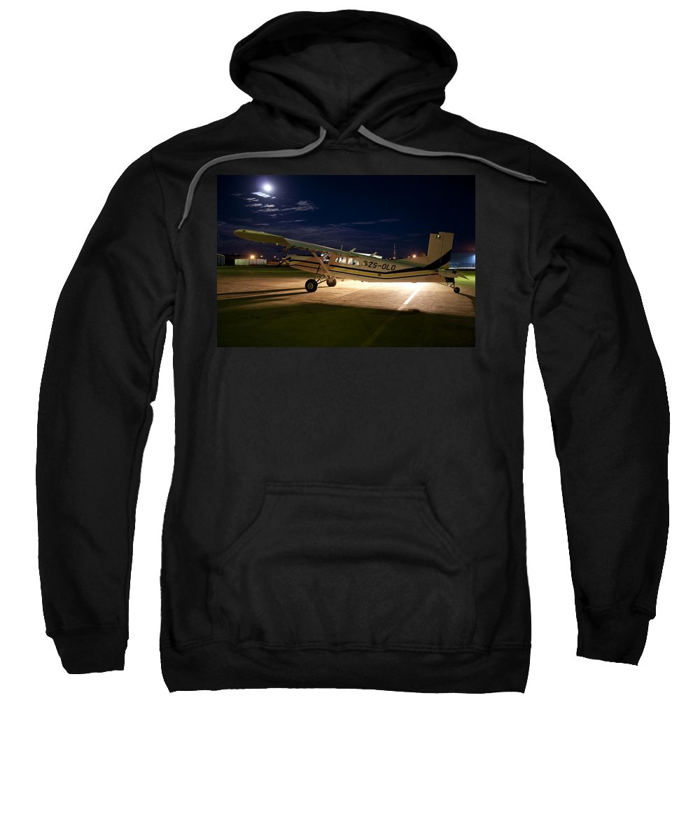 Pilatus Pc 6 Porter Sweatshirt featuring the photograph Moon Light by Paul Job