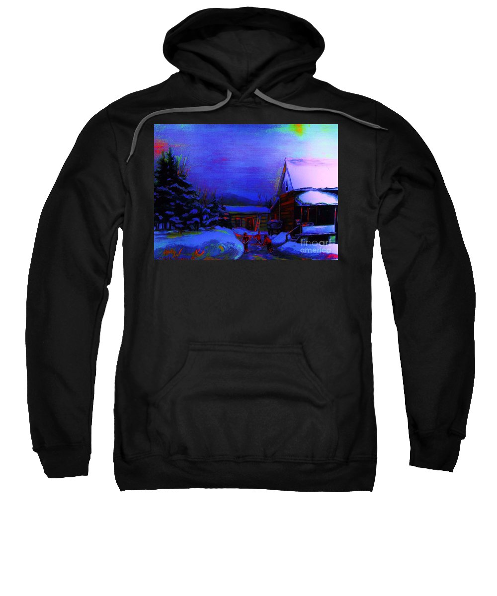 Hockey Sweatshirt featuring the painting Moonglow On Powder by Carole Spandau