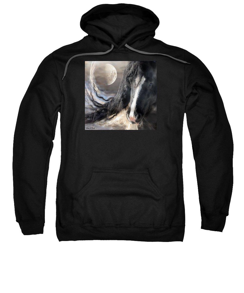 Horse Art Prints Sweatshirt featuring the photograph Moonlight And Valentino by Fran J Scott