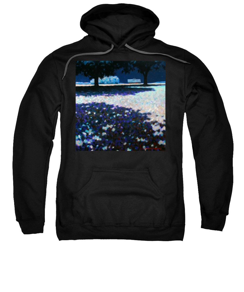 Moonlight Sweatshirt featuring the painting Moonlit Acres by Kevin Lawrence Leveque