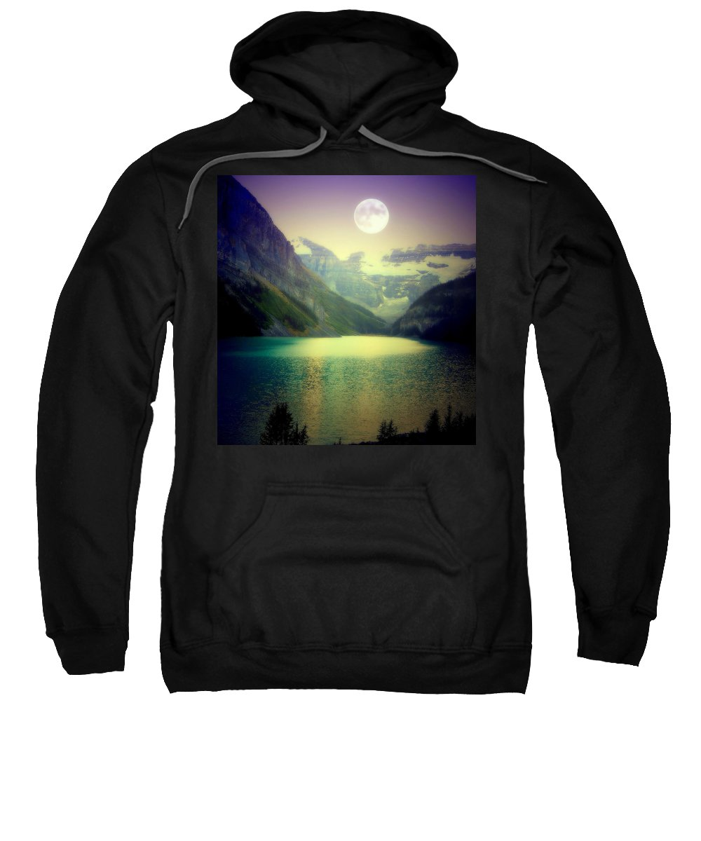 Lake Louise Sweatshirt featuring the photograph Moonlit Encounter by Karen Wiles