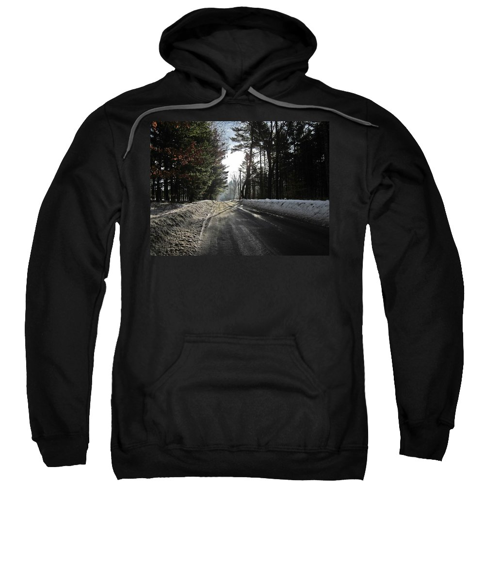 Morning Light Sweatshirt featuring the photograph Morning Light On The Road by MTBobbins Photography