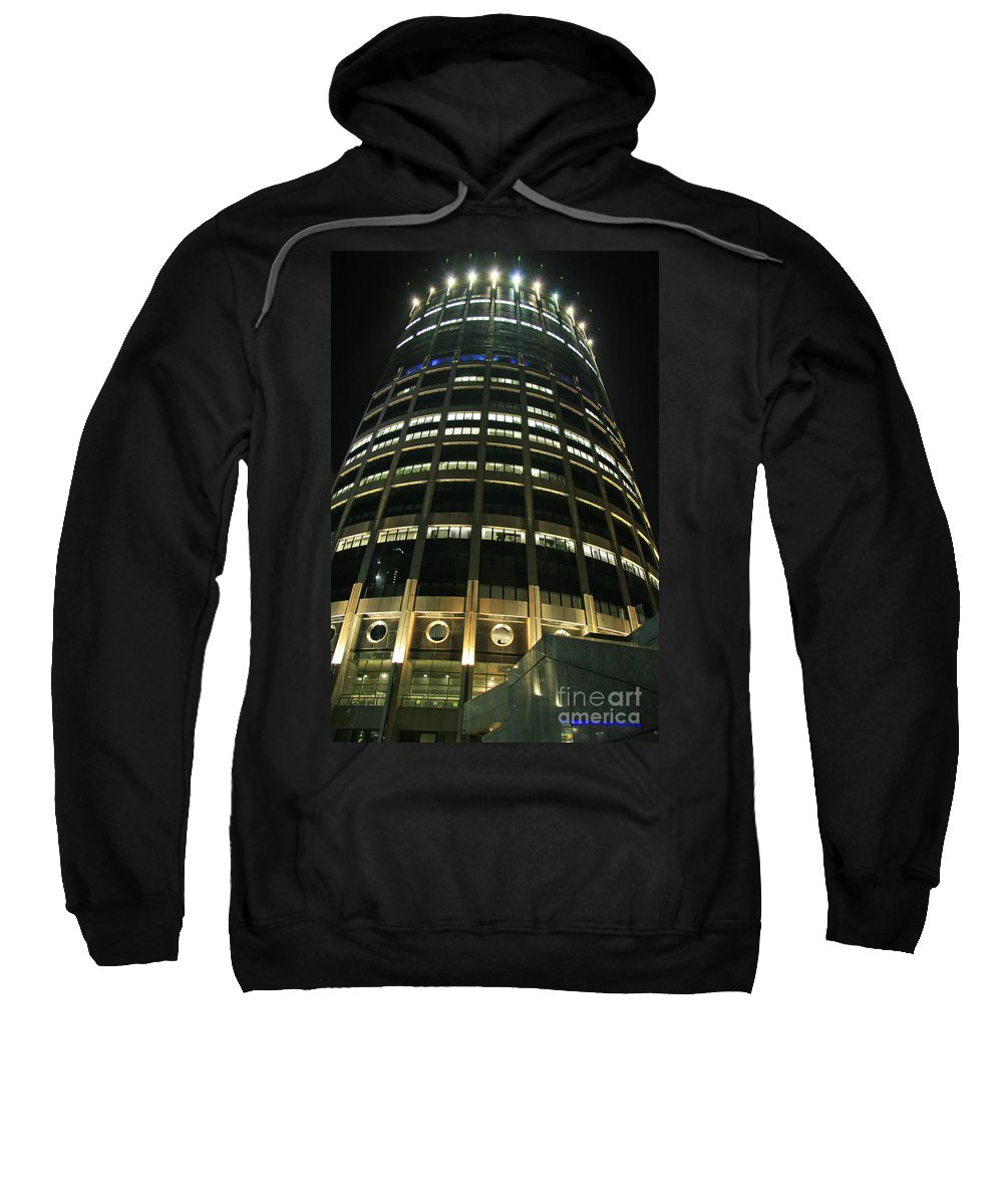 Night Sweatshirt featuring the photograph Moscow Skyscraper Night by Lali Kacharava