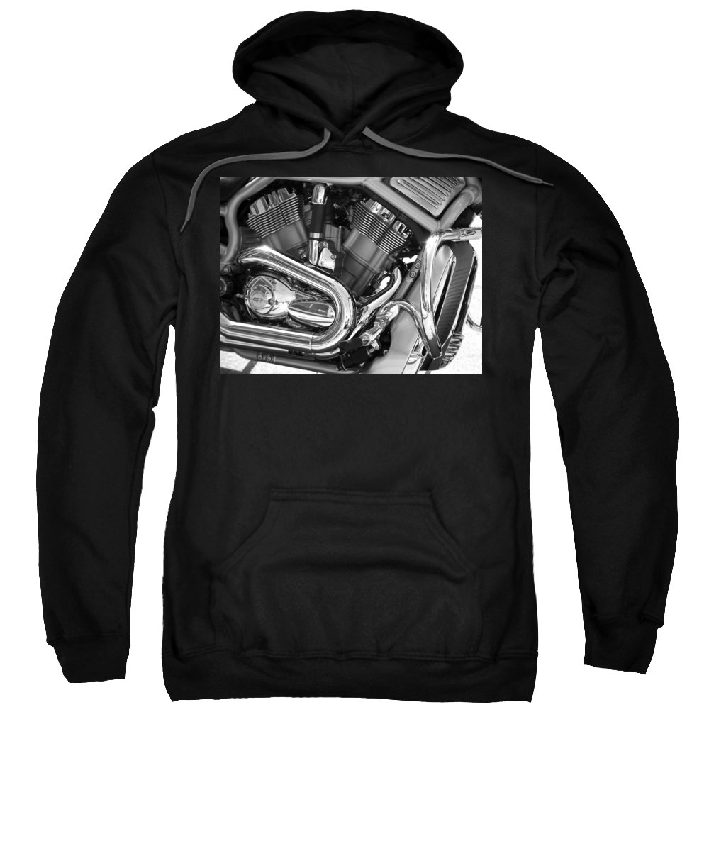 Motorcycles Sweatshirt featuring the photograph Motorcycle Close-up Bw 1 by Anita Burgermeister