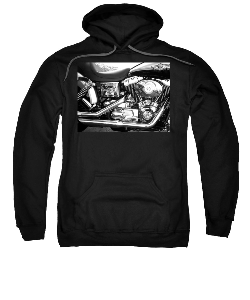 Motorcycles Sweatshirt featuring the photograph Motorcycle Close-up Bw 3 by Anita Burgermeister