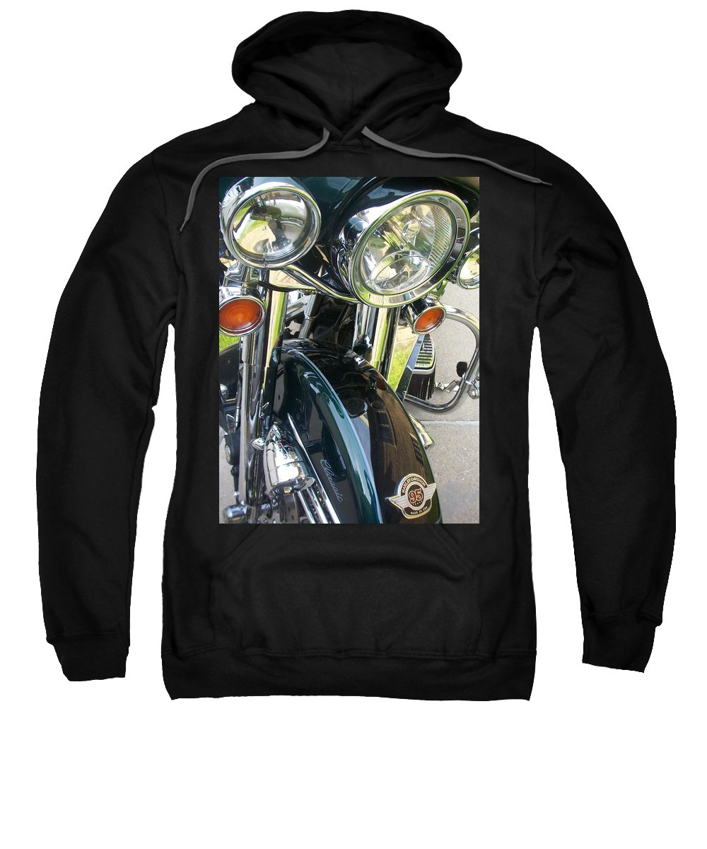 Motorcycles Sweatshirt featuring the photograph Motorcyle Classic Headlight by Anita Burgermeister