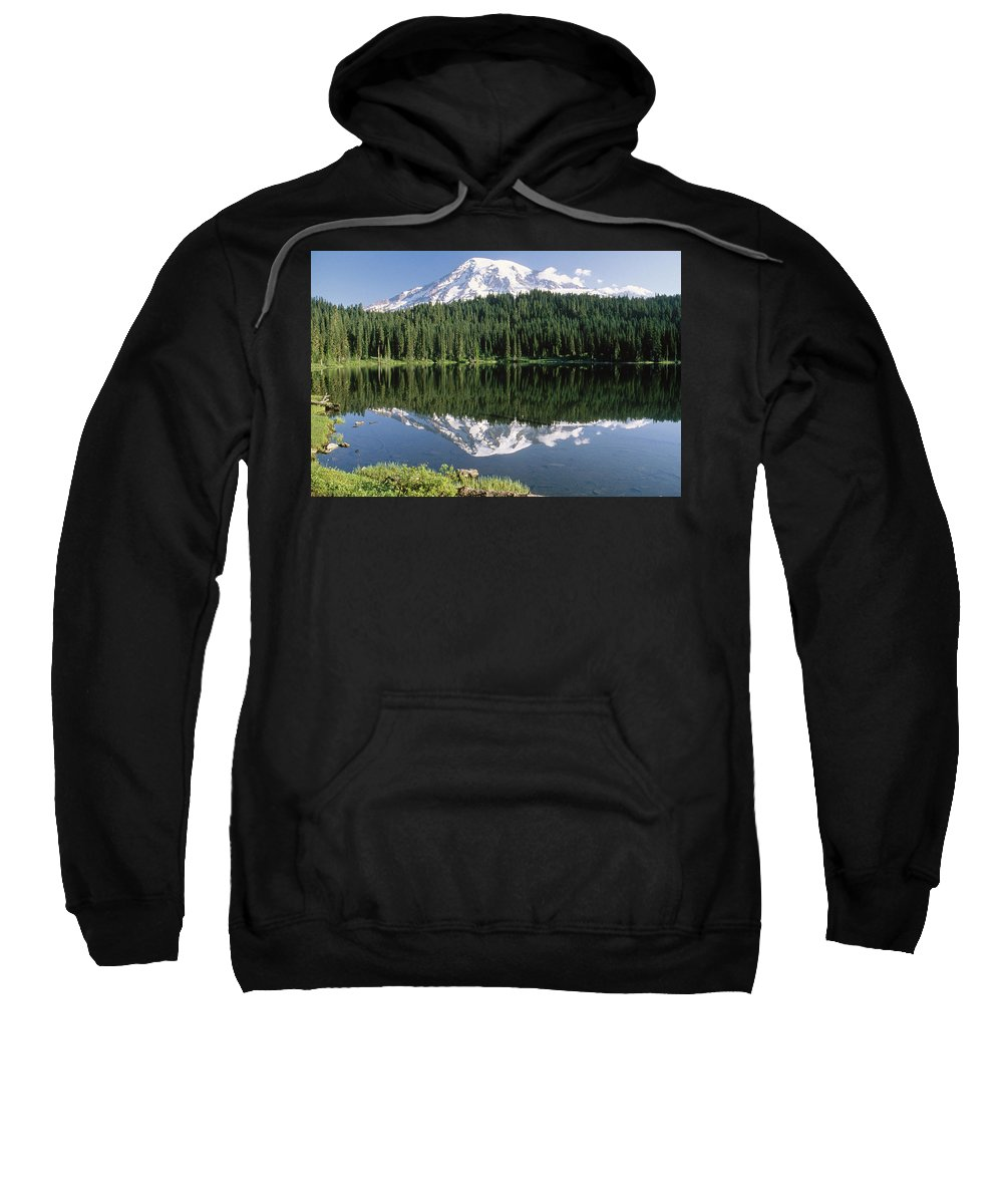 Color Image Sweatshirt featuring the photograph Mount Rainier Reflection by Tim Fitzharris
