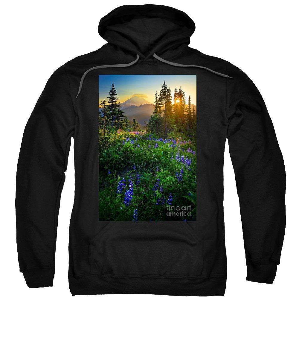 America Sweatshirt featuring the photograph Mount Rainier Sunburst by Inge Johnsson