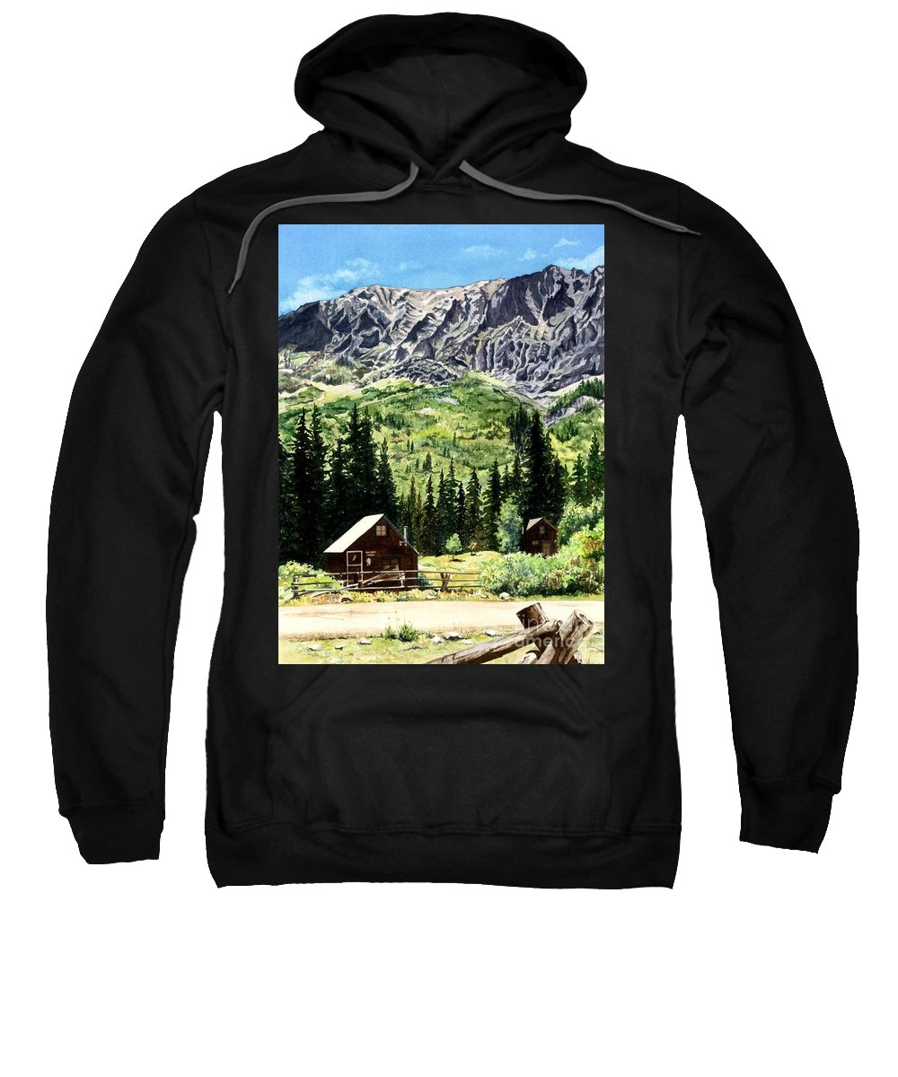 Water Color Paintings Sweatshirt featuring the painting Mountain Majesty by Barbara Jewell