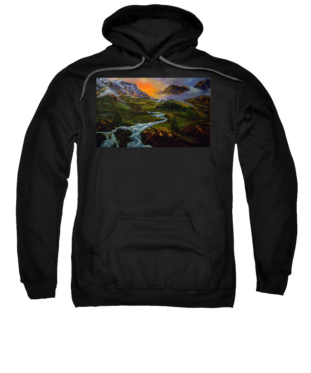 Mountains Sweatshirt featuring the painting Mountain Streams by Sue Stake