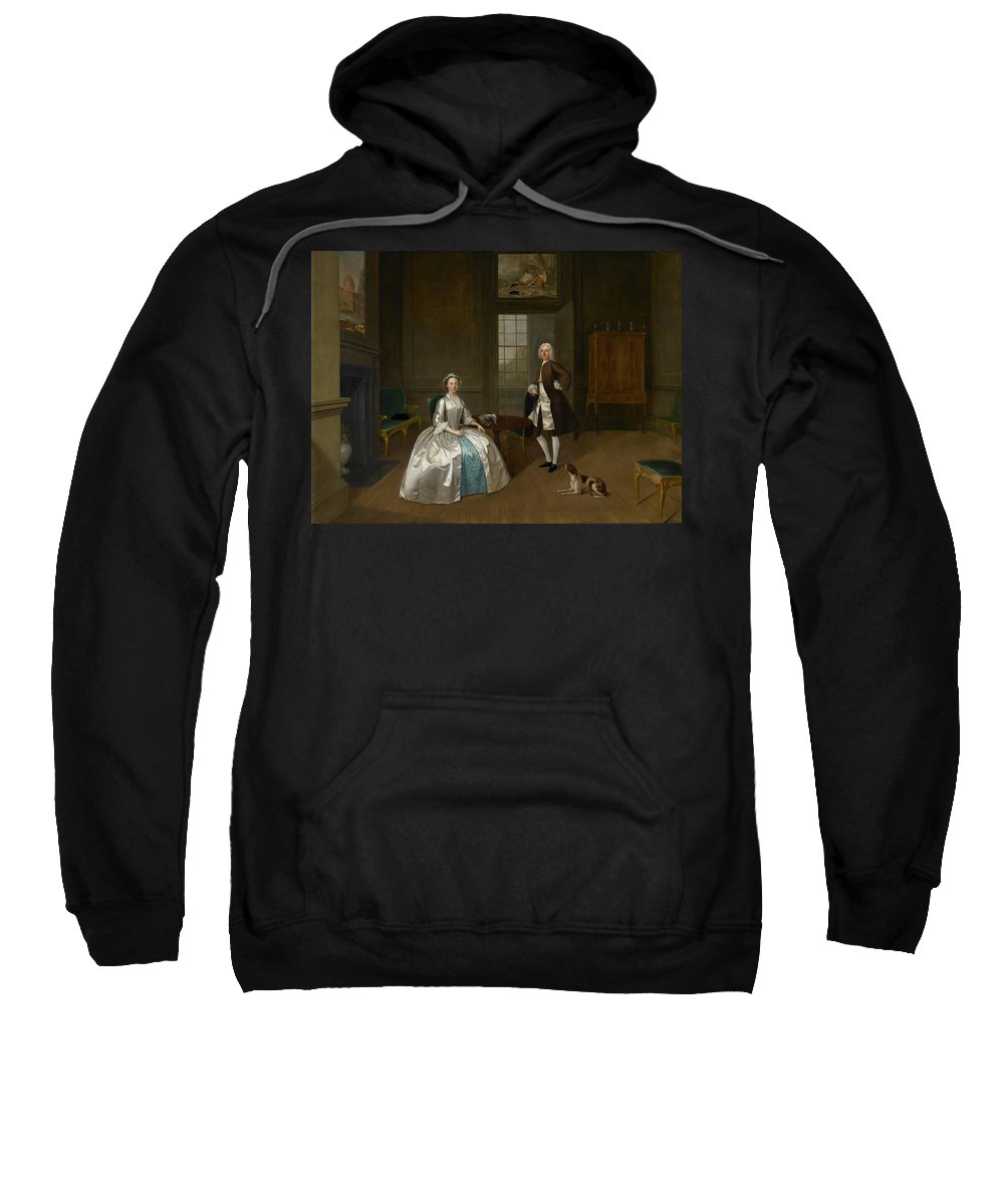 Arthur Devis Sweatshirt featuring the painting Mr And Mrs Atherton by Arthur Devis