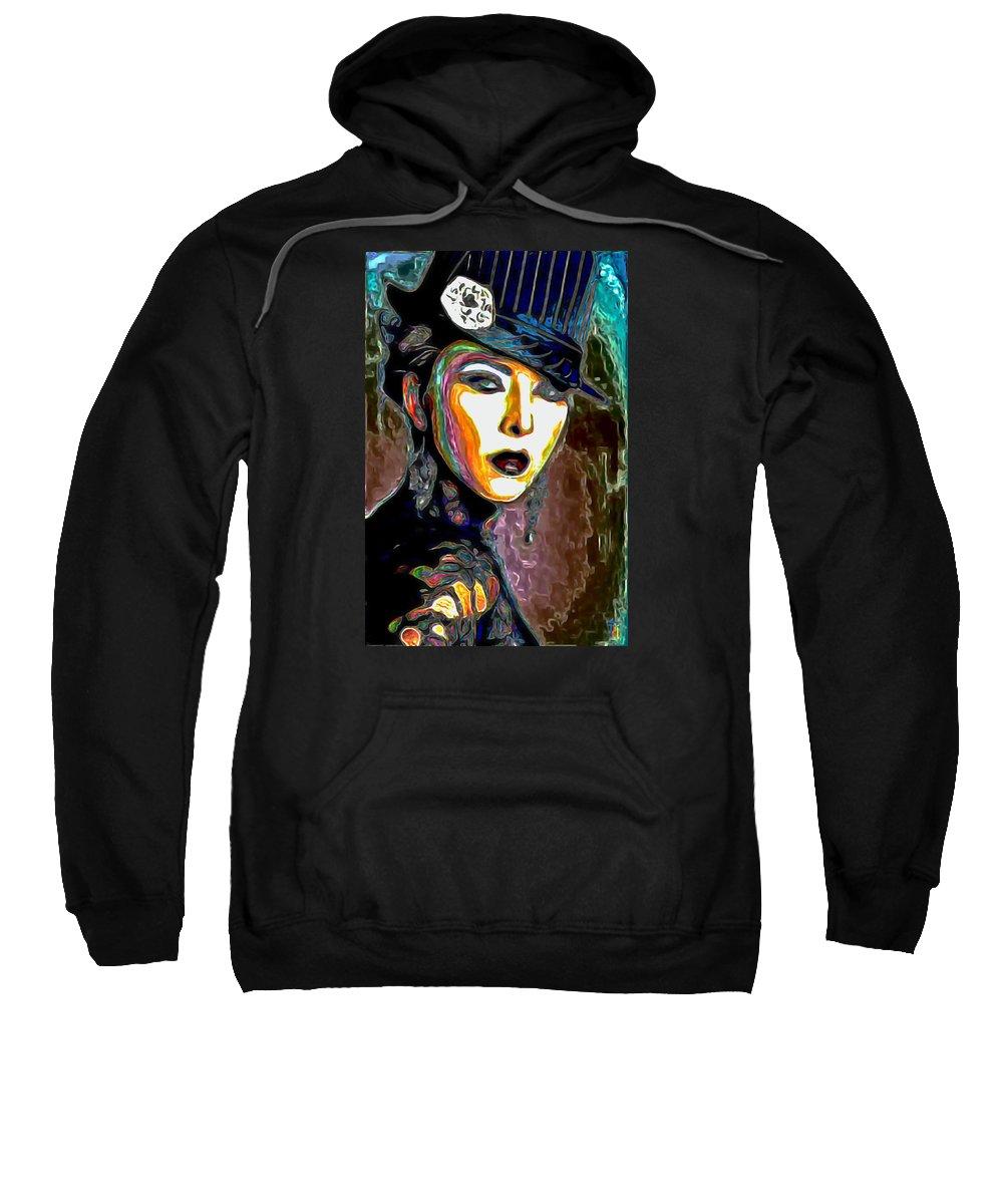 Ms Boss Lady Sweatshirt featuring the painting Ms Boss Lady by Fli Art