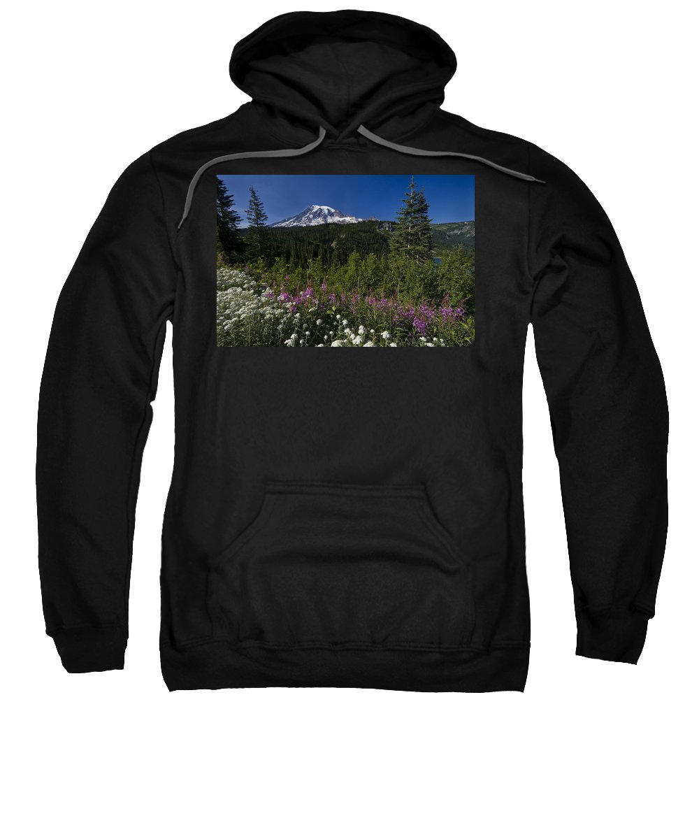 3scape Sweatshirt featuring the photograph Mt. Rainier by Adam Romanowicz