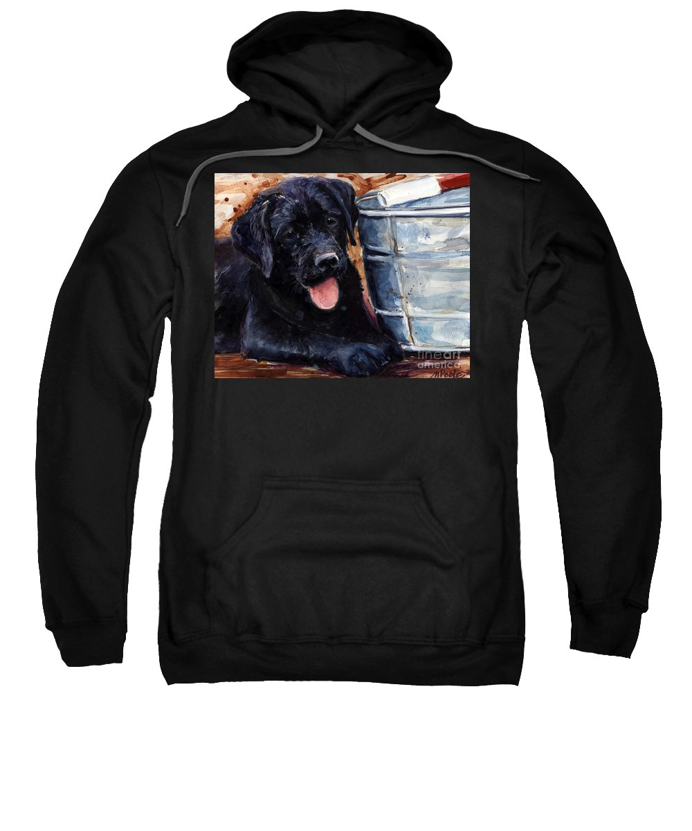 Labrador Retriever Sweatshirt featuring the painting Mud Pies by Molly Poole