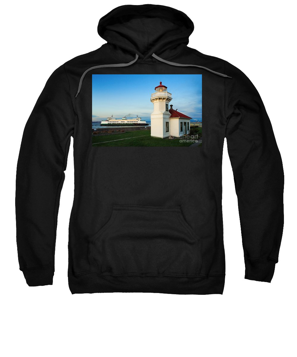 America Sweatshirt featuring the photograph Mukilteo Ferry And Lighthouse by Inge Johnsson