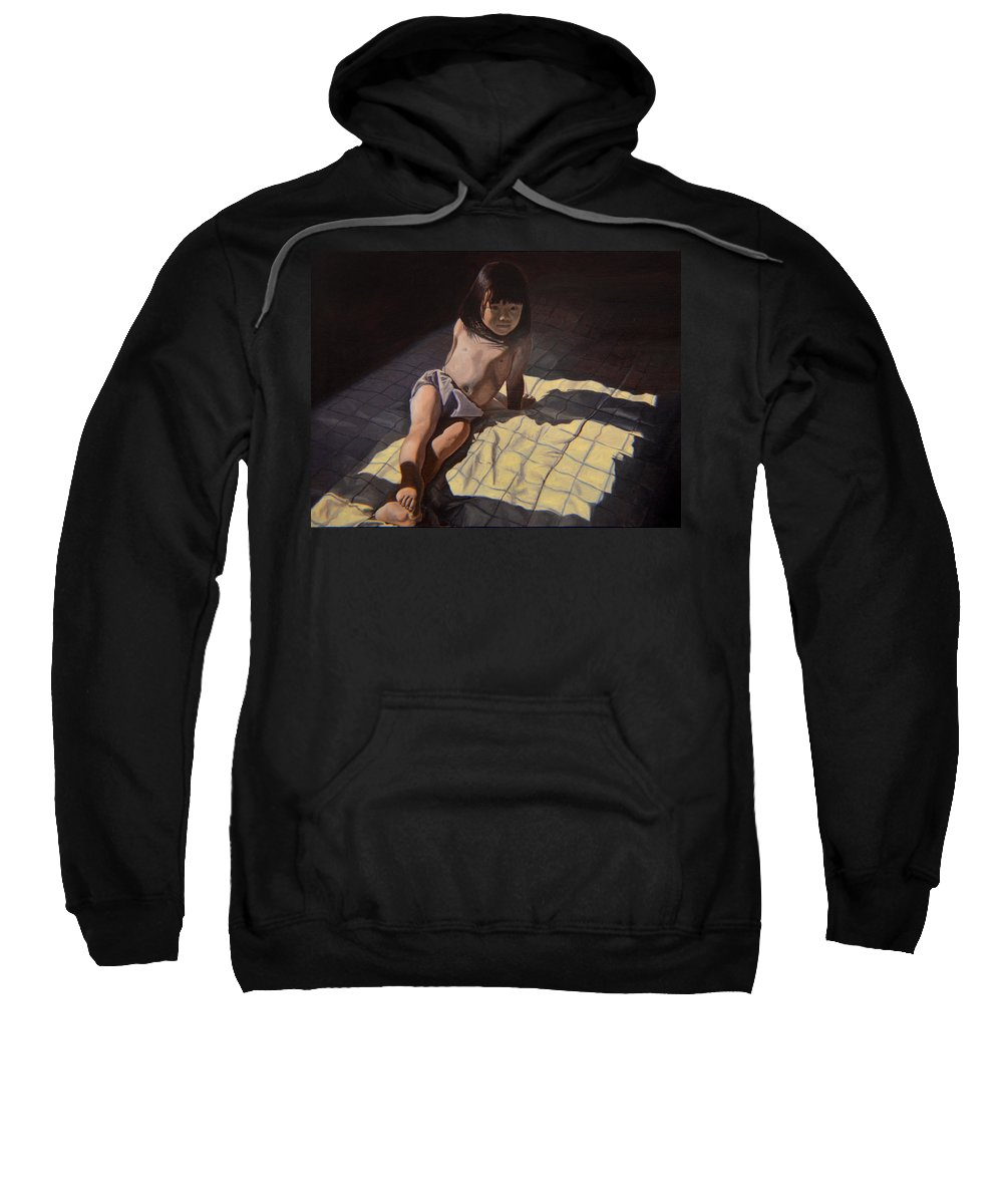 Figure Sweatshirt featuring the painting My Little Cheese Cake - Wah Zhee Tah by Thu Nguyen